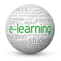 """E-LEARNING"" Tag Cloud Globe (mooc education training studies)"