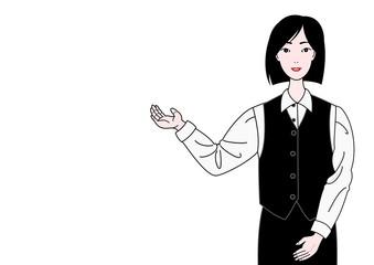 案内する制服の女性
