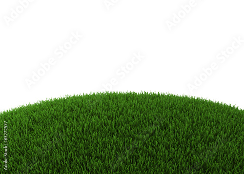 Green hill of grass isolated on white