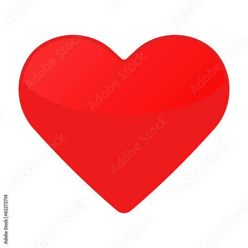 Isolated red heart on a white