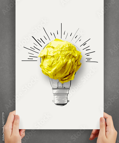 hand drawn light bulb with crumpled paper ball on paper poster a