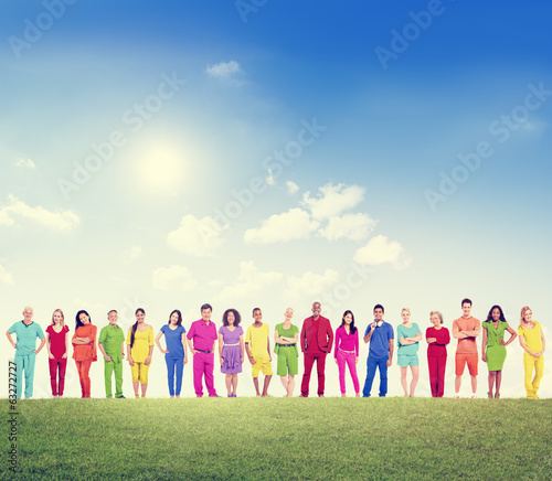 Multi-Ethnic Colorful People Outdoors