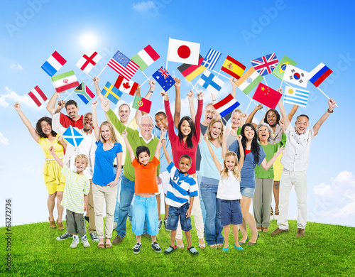 Multi-Ethnic People Holding National Flags of the World