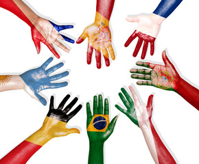 Multi-National Flags Drawn on Hands Forming a Circle