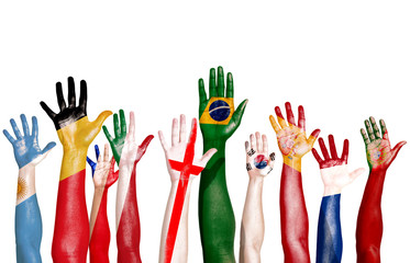 Multi-National Flags Drawn on Raised Hands