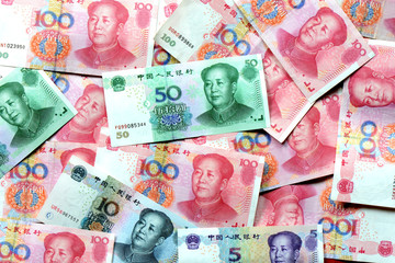 RMB bank notes money background