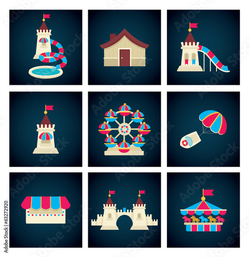 amusement park icons, vector collection