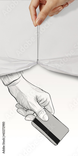 hand drawn hand holding up credit card on crumpled paper backgro