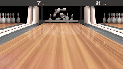Animation of Bowling. Bowling Ball Missing into the Pins