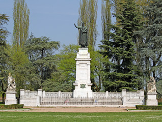 City Park with a statue of the famous poet Virgil in Mantua in I
