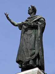 statue of the famous poet Virgil in the Center in the city of Ma