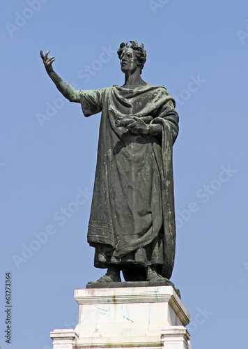 great statue of the famous poet Virgil in the Center in the city
