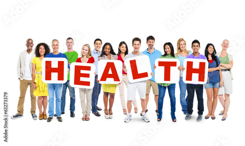 "Multiethnic Group Of People Holding the Word ""HEALTH"""