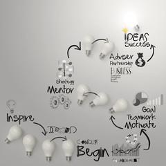hand drawing lightbulb  idea diagram on crumpled paper backgroun