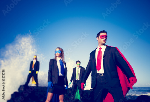 Business Superheroes on the Beach