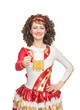 Happy Irish dancer with glass of beer
