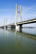 Cable-stayed bridge across river Po in Northern Italy