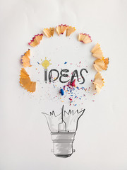 hand drawn light bulb word design IDEA with pencil saw dust on p