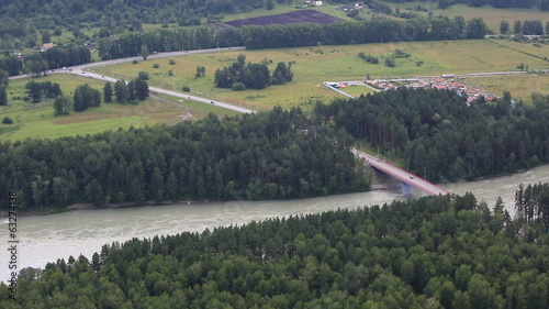 New bridge Aysky over the river Katun. Altai Krai.