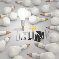 pencil lightbulb 3d and design word THINK as concept
