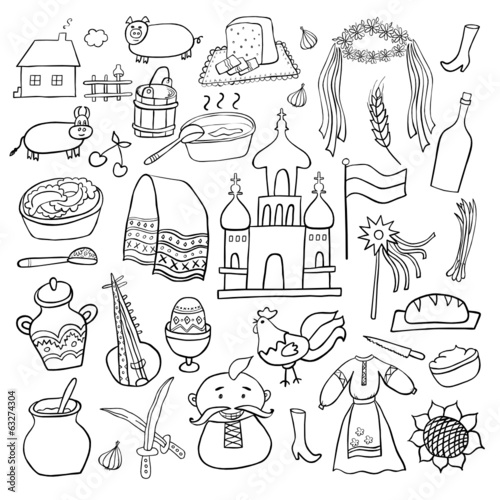 Ukraine hand drawn cartoon set