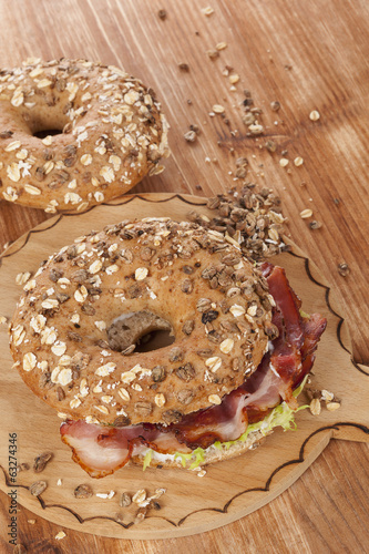 Bagel with bacon.