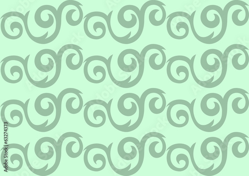 Green ornate seamless pattern