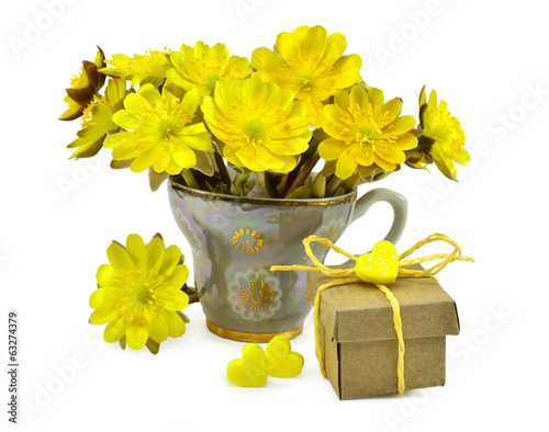 Yellow flowers with a gift