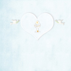 Chalice heart and doves First communion card