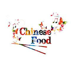 "Colorful vector ""Chinese Food"" background with butterflies"