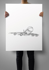 man showing poster of Airplane hand drawn as concept
