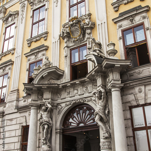 Vienna, Austria. Details of architectural decoration of historic