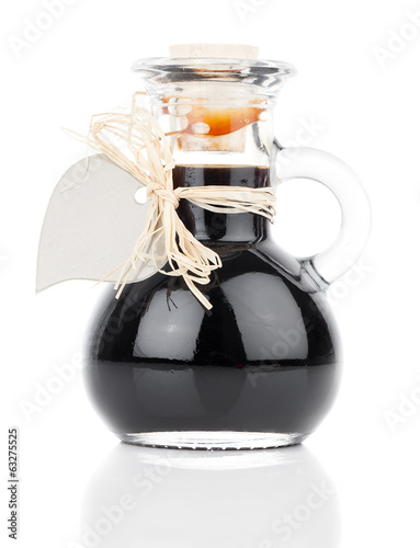 maple syrup in glass bottle or herbal syrup, ardent drink, mixtu