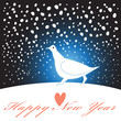 new year greeting card with a white bird