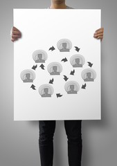 man showing poster of Hand drawn social network structure as con