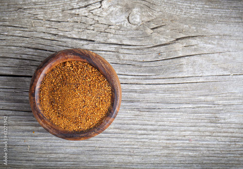 cinnamon in a wooden bowl