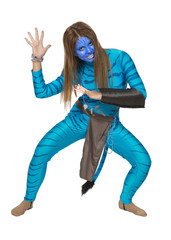 Young girl in a theatrical costume, blue, like a cat with a pain