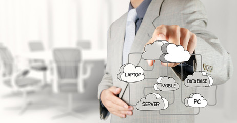 businessman hand drawing  Cloud network diagram on the new compu