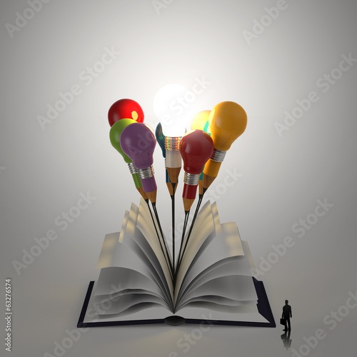 open book with pencil lightbulb 3d and business man as concept