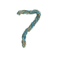7, seven, set of numbers of twisted wire
