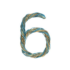 6, six, set of numbers of twisted wire