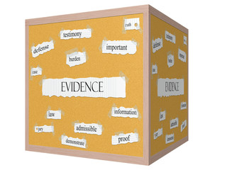 Evidence 3D cube Corkboard Word Concept