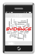 Evidence Word Cloud Concept on Touchscreen Phone