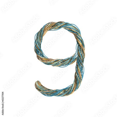 9, nine, set of numbers of twisted wire