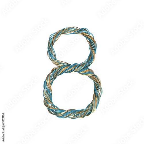 8, eight, set of numbers of twisted wire