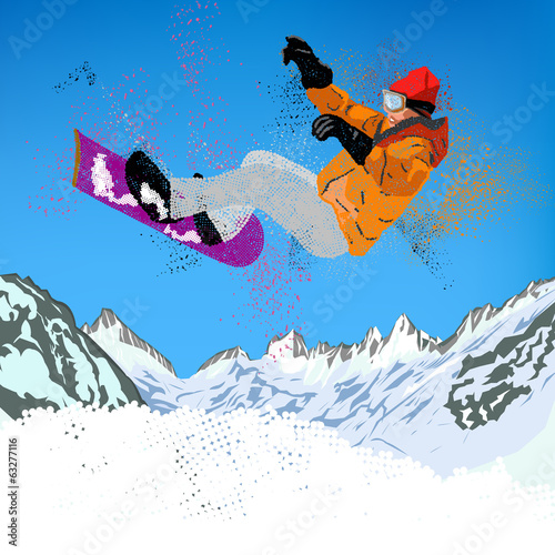 Freestyle Skiing.Mountain skiing.Extreme Snowboarding.Sport