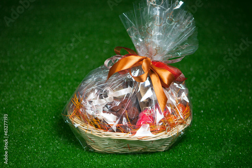gift basket against green lawn background