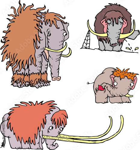 Cute funny mammoth cartoons