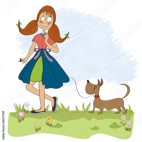 Girl walking her little dog