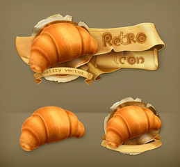 Croissant, retro vector icon